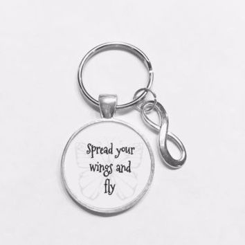Spread Your Wings And Fly Infinity Gift Graduation Daughter Butterfly Keychain