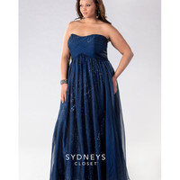 SC7121 Sydney's Closet - Navy Dream Girl Two Tone Chiffon Plus Size Gown 2015 Prom Dresses