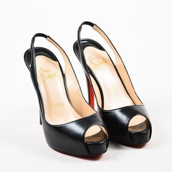 DCCK2 Christian Louboutin Black Leather Platform Peep Toe Slingback Pump Heels