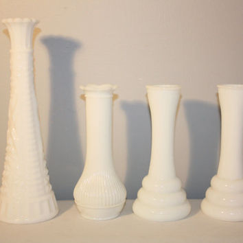 Set of Four Milk Glass Vases, Randall Milk Glass, White Bud Vase, Cottage Chic Decor