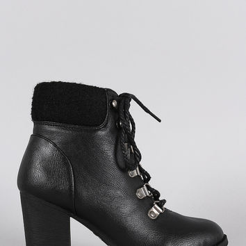 Bamboo Sweater Cuff Combat Lace Up Heeled Booties