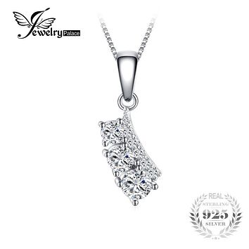 JewelryPalace Individuality 0.7ct Cubic Zirconia Leaf shape Pendant 100% Real 925 Sterling Silver Jewelry Not Include A Chain