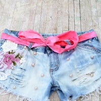 Festival Cut off shorts, embellished, Boho shabby jean shorts, Vintage tapestry , Romantic country chic, gypsy cowgirl, true rebel clot