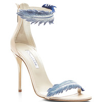 Aubree Feather-Detail Suede High-Heel Sandals
