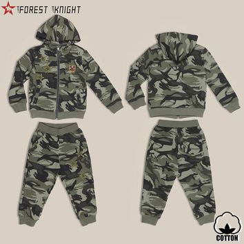 Cotton Camo Child Hoodies Jacket Set Suit Boys Children Clothing Outdoor Sport Camping Hiking Army Camouflage 2Pcs Set For Kids