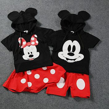 fashion cute summer kids baby boy cartoon mickey hooded top and boys shorts set polka dot red minnie girls summer clothing 2017