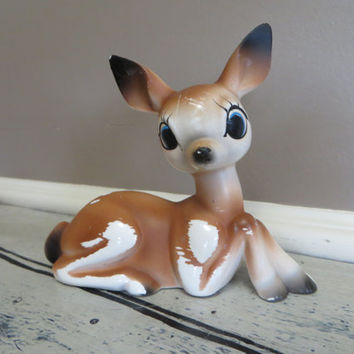 Ceramic Deer CeramicFawn Vintage Fawn Doe Spotted Deer Miniature Deer Woodland Decor Rustic Shabby Chic Decor
