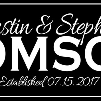 Personalized Family Name Sign Clean Black/White Plaque Established Family Sign 8x24 Carved Engraved Wall Sign wedding, housewarming, anniversary gift