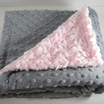 Adult Size Minky Blanket in Light Pink Swirl and Charcoal Gray Minky Dot Monogram Included