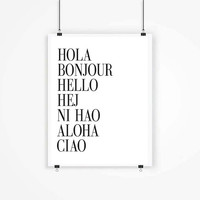 Hola, Bonjour, Hello...Digital Print. Instant Download,Typography Printable art Digital Typography Art HI Art