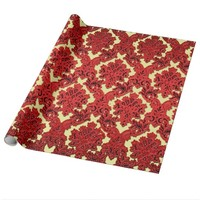 Deep Red and Gold Christmas Damask Wrapping Paper