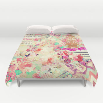 Flowers Mix Vintage Patchwork Duvet Cover by Girly Trend