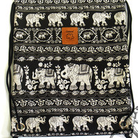 Elephant Backpack Canvas Cotton drawstring Hip bag Festival Handmade bag