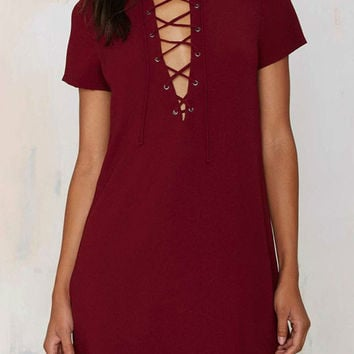 Burgundy Plunge Lace Up Front Short Sleeve Dress