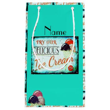 Vintage ice cream sign gift bag