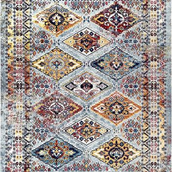 20031 Multi Color Moroccan Trellis Distressed Oriental Area Rugs