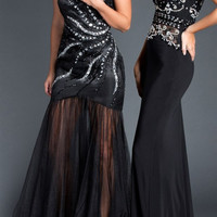 Black Label Couture 56 Sheer Illusion Cap Sleeve Evening Gown Prom Dress