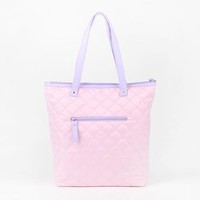 Little Twin Stars Shoulder Tote Bag: Pink Stitch