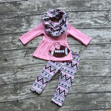 Girls 3PC Outfit Includes Scarf Pink Football Top Aztec Print Pants