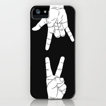 Peace Love and Rock N Roll iPhone Case by Erik Sandi Satresa