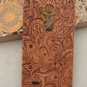 Abstract Floral Custom Design  ''Leafy'' Wood Phone Case HTC One M8, LG G2 and G3, Sony Xperia Z2, Z3, Z3 Compact