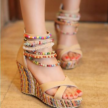 2017 Brand New Women's Shoes Bohemian High Heel Wedge Sandals Fashion Color Beaded Cha