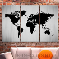 Canvas Print Black and White WORLD MAP Canvas Print - 3 Panel Canvas Art Print - Ready to Hang - White Black World Map