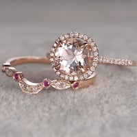 2 Morganite Bridal Ring Set,Engagement ring Rose gold,Diamond wedding band,8mm Round Gemstone Promise Ring,Halo,Ruby Milgrain Matching band