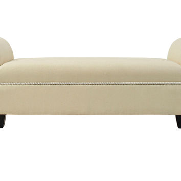 Savannah Roll-Arm Bench, Cream, Entryway Bench