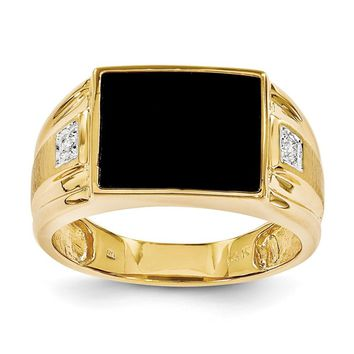 14k Yellow Gold Men's Onyx And Diamond Ring