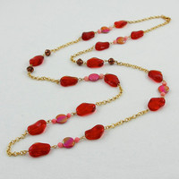 Long Chain Necklace with Red Glass and Mother of Pearl Beads, Victoria Collection