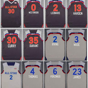 New Style 2017 All Star Jersey Brown White 2 Kawhi Leonard 4 Isaiah Thomas 35 Kevin Durant 2 Kyrie Irving 3 Chris Paul 21 Jimmy Butler