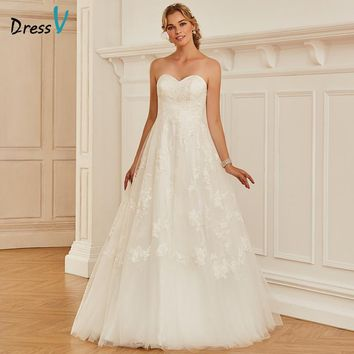 Dressv Long Sweetheart Neck Ball Gown Wedding Dress Sleeveless Tulle Appliques Dream Church Garden Princess Wedding Dresses