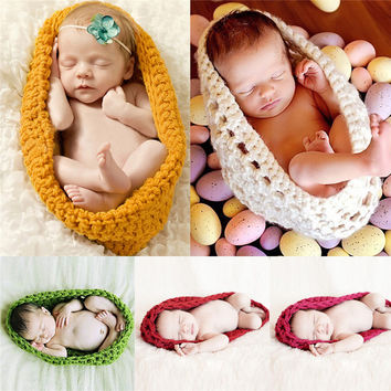 5 Colors Baby Bowl Cocoon Photography Props Handmade Newborn Knitted Hat Pod Sleeping Bag Crochet Toddler Costume Outfit
