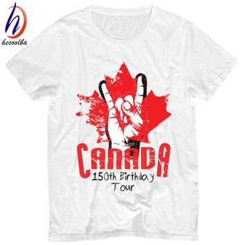 Canada 150th Birthday Print T-shirt Men 2017 Canada 150 Year Funny T shirt Men and Women Maple Leaf Tops Tee,Women Shirt,HP213