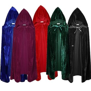 Woman Adult Capes Cloaks Halloween Costumes Hood Clothes Men Wizard Party Medieval 170cm