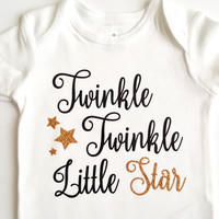 Twinkle Twinkle Little Star bodysuit, baby girl boy, gold glitter, stars, baby shower gift, baby clothes, cute gifts, cake topper, nursery