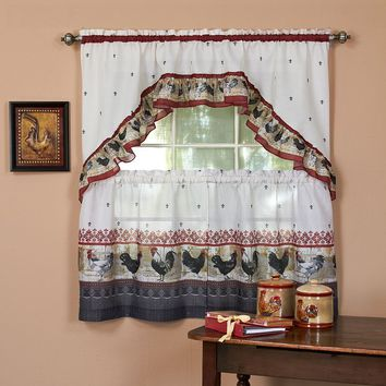 Rooster 3-pc. Swag Tier Kitchen Curtain Set (Red)