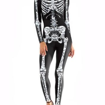New Black White The Vampire Halloween Costumes Skeleton Ghost Bride The Queen Long Jumpsuit