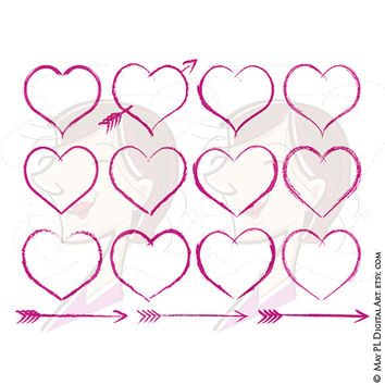 Hearts Cupid Arrows Fuschia Pink Rustic Romantic Romance Chalk Scribble Love Amore Amor Affection Passion Clipart Wedding Valentines 10399