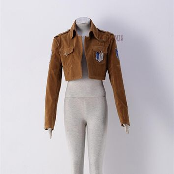 Cool Attack on Titan Athemis  coat Jacket for Eren Levil Mikasa Ackerman high quality Suede fabric Any size AT_90_11