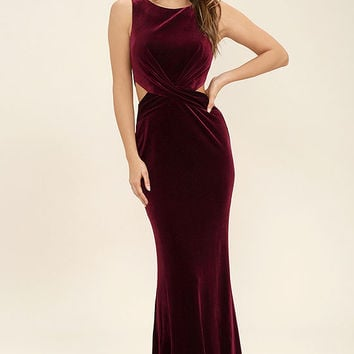 Reach Out Burgundy Velvet Maxi Dress