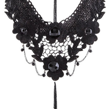 Gothic Victorian Wedding Black Lace Flower Statement Necklace