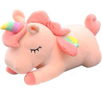 Pink creamy-white unicorn pillow doll cute super plush sleeping pillow Funny accompany gift for girl