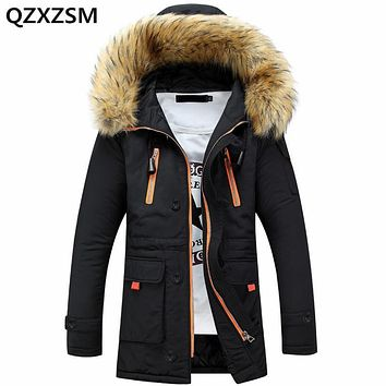 QZXZSM Men's Winter Jacket 2017 New Zipper Warm Winter Fur Collar Men Parka Long Coat Jacket Parka Men's Clothing