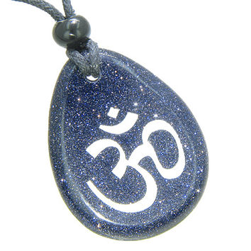 Lucky Om Symbol Wish Stone Blue Goldstone Gemstone Pendant Necklace