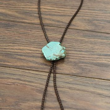 Natural Turquoise Nugget Stone Bolo Tie