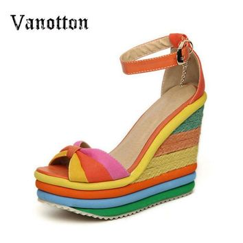 Rainbow Color Woman Sandals Platform Wedge Heel Bohemia Casual Summer Peep Toe Buckle