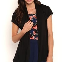 Short Sleeve Open Front Cardigan with Gathered Back and Cap Sleeves