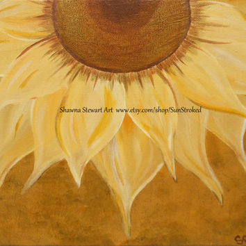 PRINT, It's All Golden, abstract acrylic energy painting, Shawna Stewart art, Free shipping, sunflower, floral